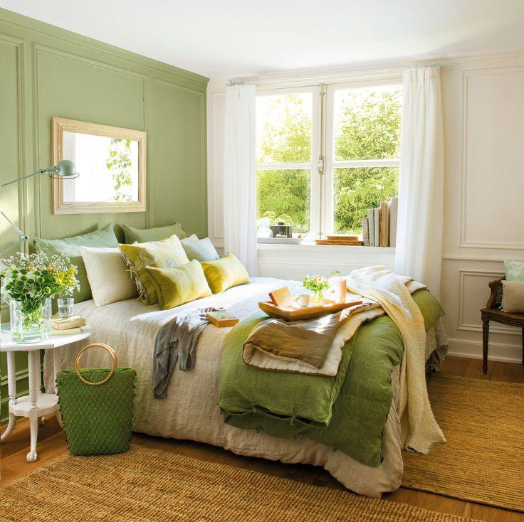 Dormitorio en verde y blanco con alfombra de fibra_438307