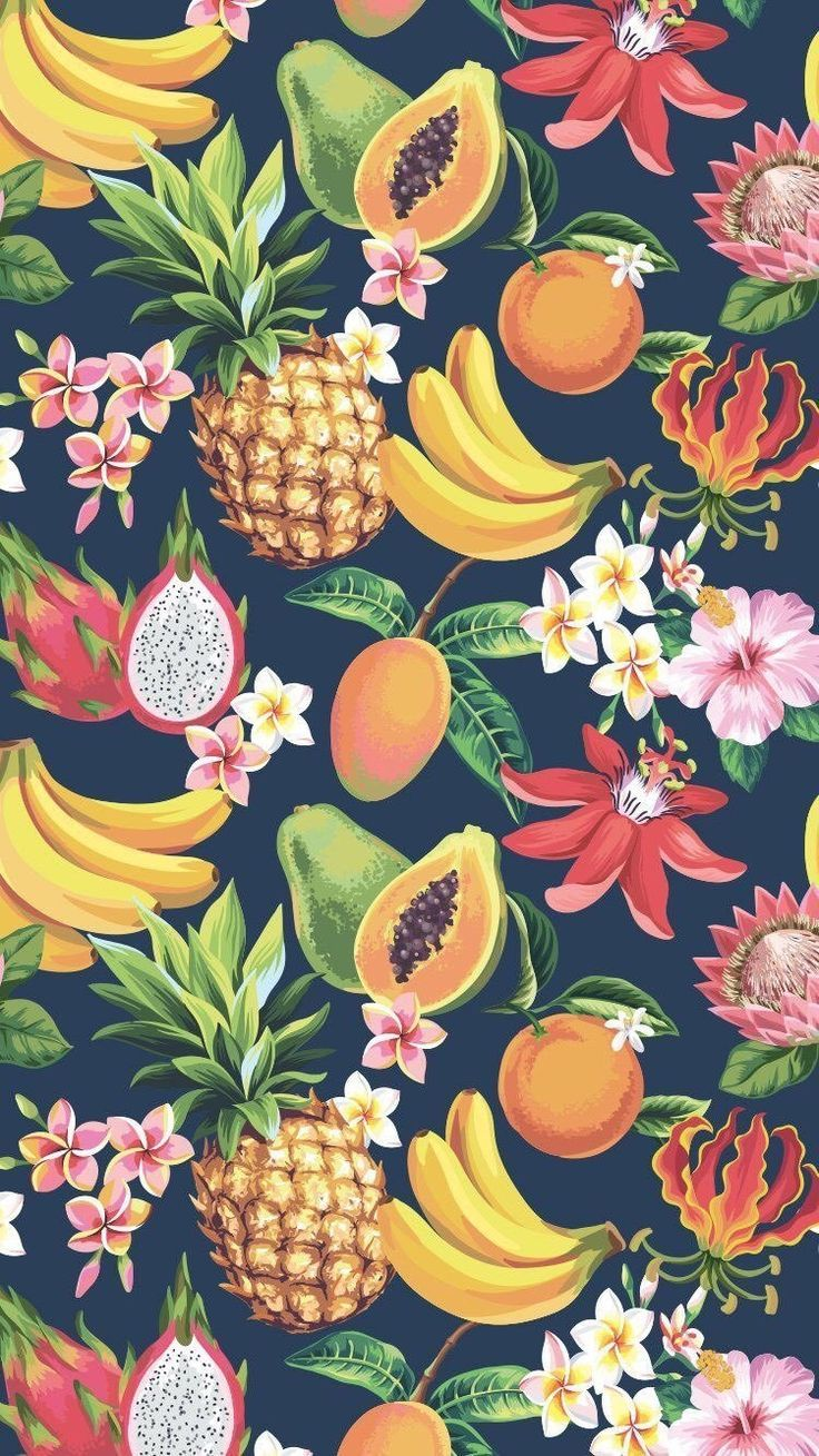 Summer Is Finally Here Celebrate With This Tropical Wallpaper For Your Smartphone Fruit Wallpaper Pattern Iphone Wallpaper Tropical Pineapple Wallpaper
