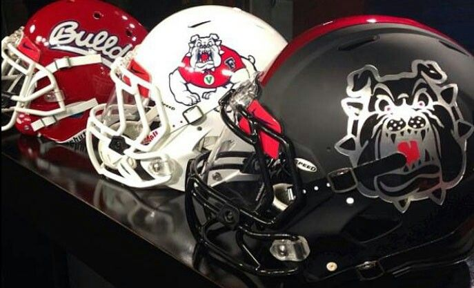 Fresno State football helmets.  Mini, Full Size Replica, and Full Size Authentic