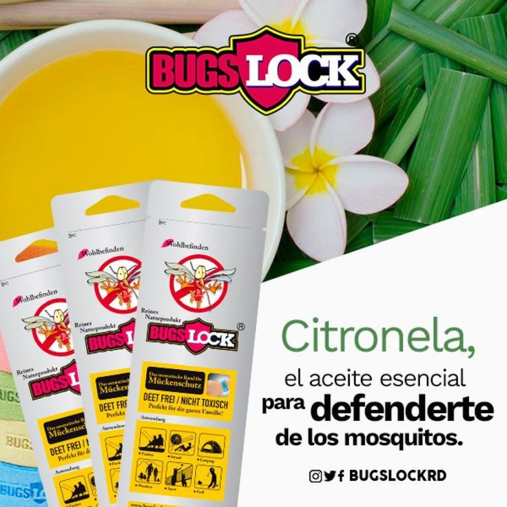 Uno de los principales usos de la citronela es como aceite esencial utilizado como insecticida natural contra los mosquitos tanto para prevenir las picaduras como para desinfectarlas. Es una excelente medida preventiva y una alternativa válida a los repelentes de insectos convencionales. -  Es importante saber que a diferencia de otras variedades de pesticidas citronela no mata a los mosquitos más bien los repele reduciendo el número de ellos que se posan en las inmediaciones. - #Bugslock…