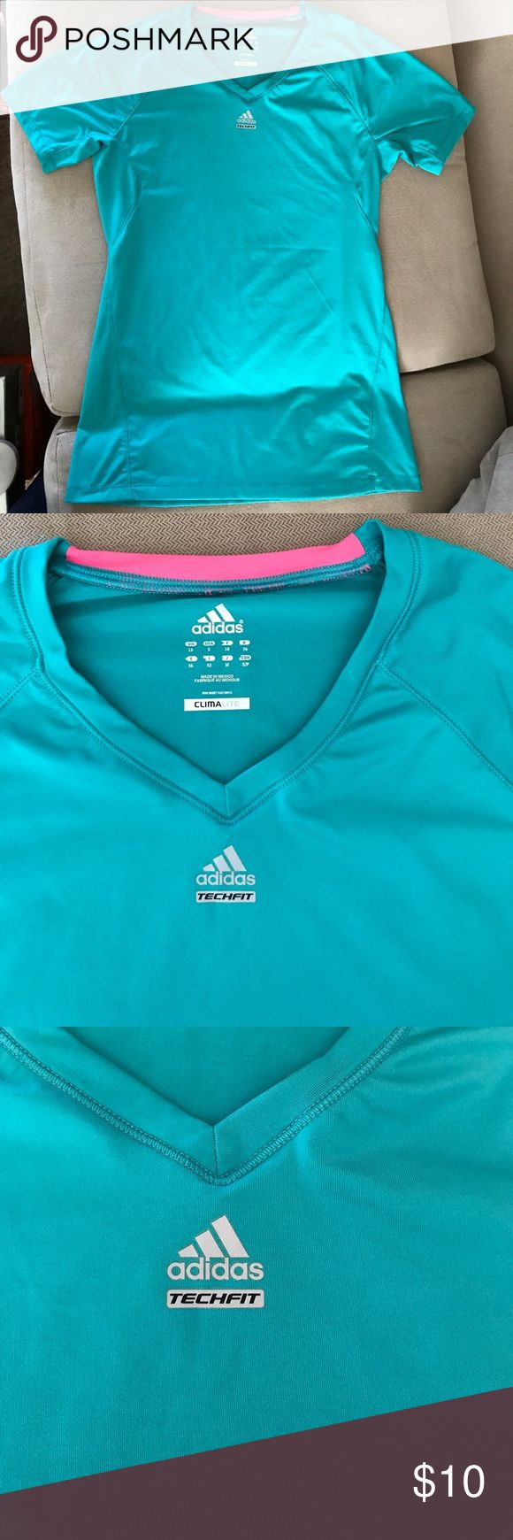 Adidas Clima Lite short sleeve shirt Sea foam green gory sleeve shirt by adidas. Tech Fit. Used 2 time. I'm a trainer so I get a lot of athletic wear to try. Now clearing out the closet. Adidas Tops Tees - Short Sleeve