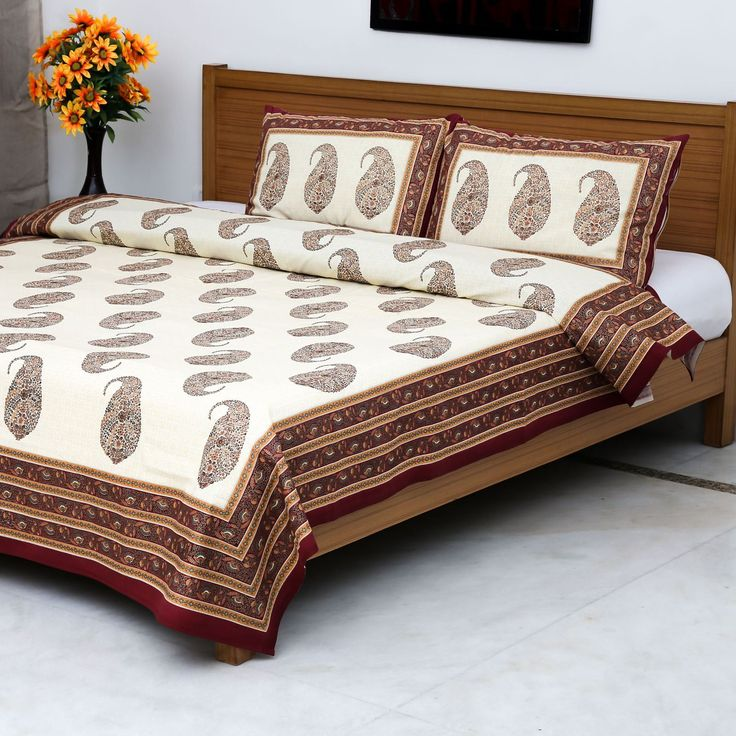 Burgundy Boteh Gold Block Printed Bedsheet with 2 Pillow Covers - The Mughal…