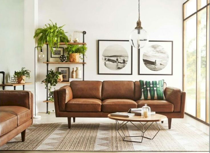 Living Room Brown Couch Minimalist Image Review