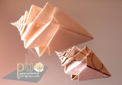 Origami sea shells from unlimited paper
