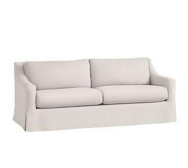 York Slope Arm Grand Sofa Slipcover, Basketweave Slub Red