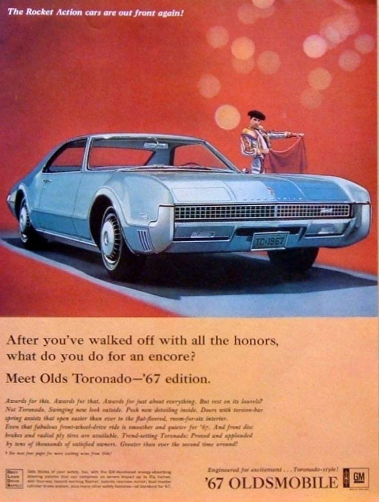 "1966 Vintage Auto Ad: '67 Oldsmobile Toronado ""Rocket Action"" Cars Bull Fighter #Oldsmobile"