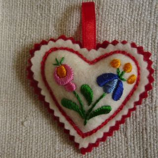 Hand Embroidered Heart. Small