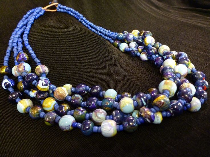 Multi-Hue Blue Beaded Necklace from Edwin's, Franklin, MA