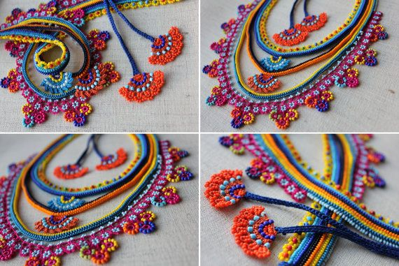 Beaded lace necklace - crocheted with yellow, orange, magenta pink, indigo and…