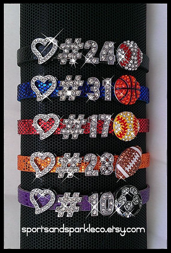 Personalized Jersey Number Bling Sports Bracelet with Heart and Rhinestone Sports Charm on Etsy, $9.99