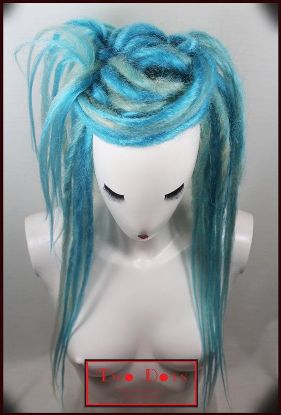 Turquoise & Blonde Synthetic Dread Falls with by TWODOTSHAIR, £30.00
