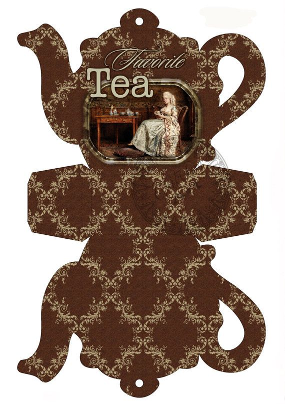 Instant Download  Printable  Tea Bag Holder Box by AdikaBoxCovers, $3.75