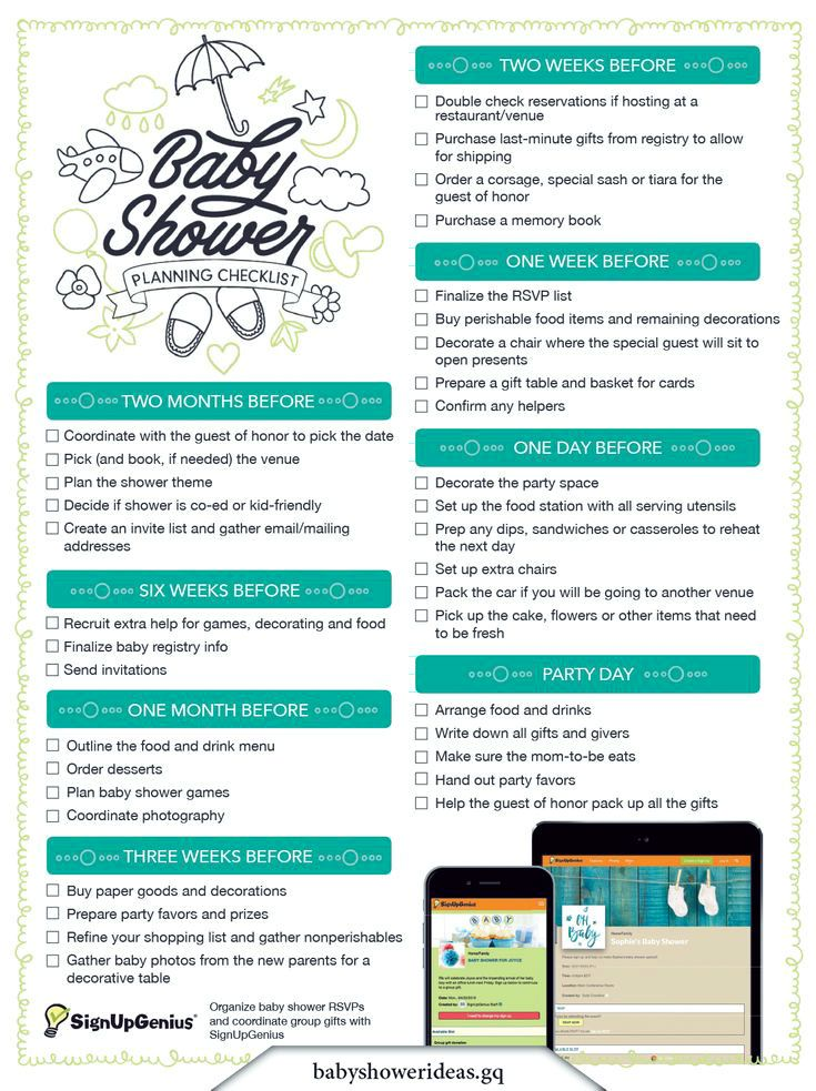 Baby Shower Planning Checklist. Get this printable checklist that guides you through