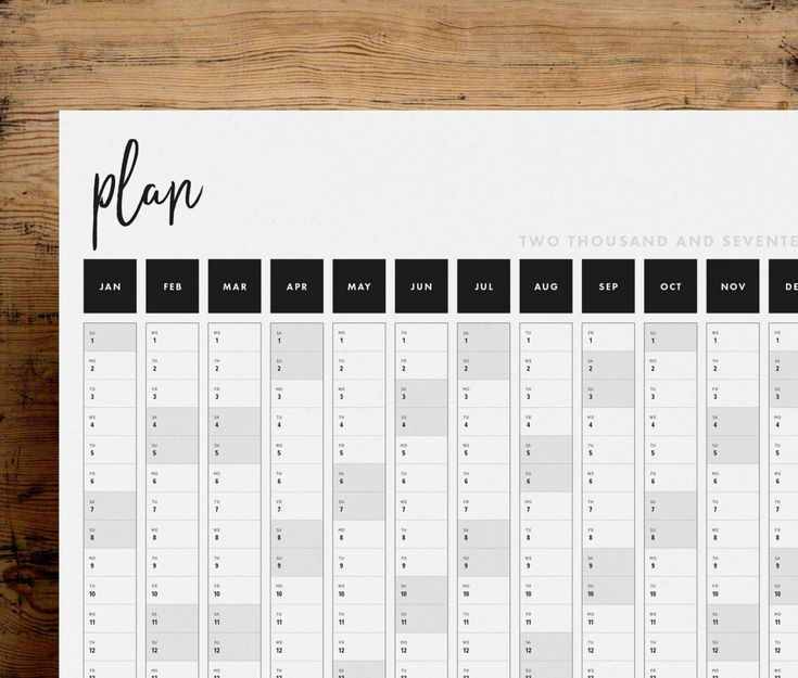 Get A Head Start On 2017 With This Practical And Stylish Printable Full Year Wall Planner  Its