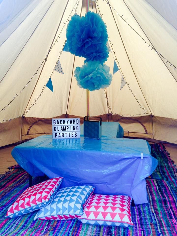 Create a Magical Experience by  having a BACKYARD Glamping party in the safety of your garden. At Backyard Glamping  we deliver the bell tent to your Garden and then decorate it outside with bunting and fairy lights. Inside we decorate the tent with flooring and comfy rugs, lots more fairy lights  even more bunting, Air beds with Throws, lanterns and Tables. All your guests have to bring with them are their sleeping bags, pillows, warm clothes and cozy blankets for a party.