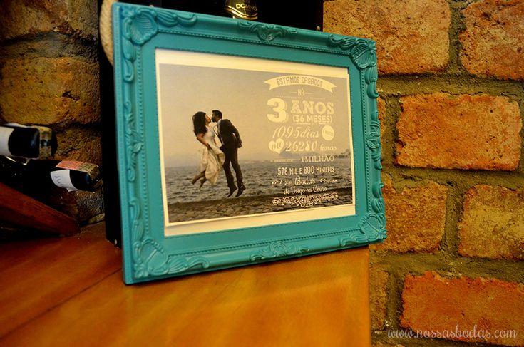 Foto personalizada com o tempo que o casal está junto | Lojinha Nossas Bodas | Bodas de Trigo