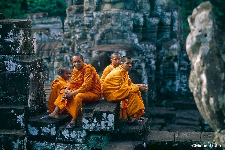 #Cambodia Siem Reap - Angkor Thom Bayon Monk at Bayon  ©Michel Gotin