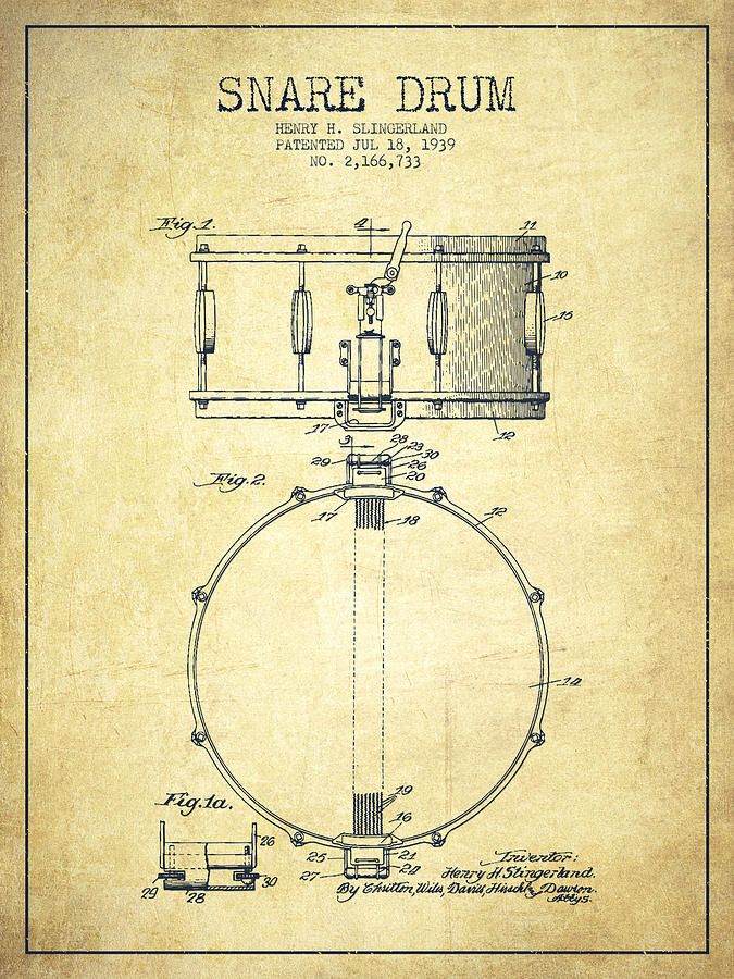 Snare Drum Patent Drawing From 1939 - Vintage Drawing