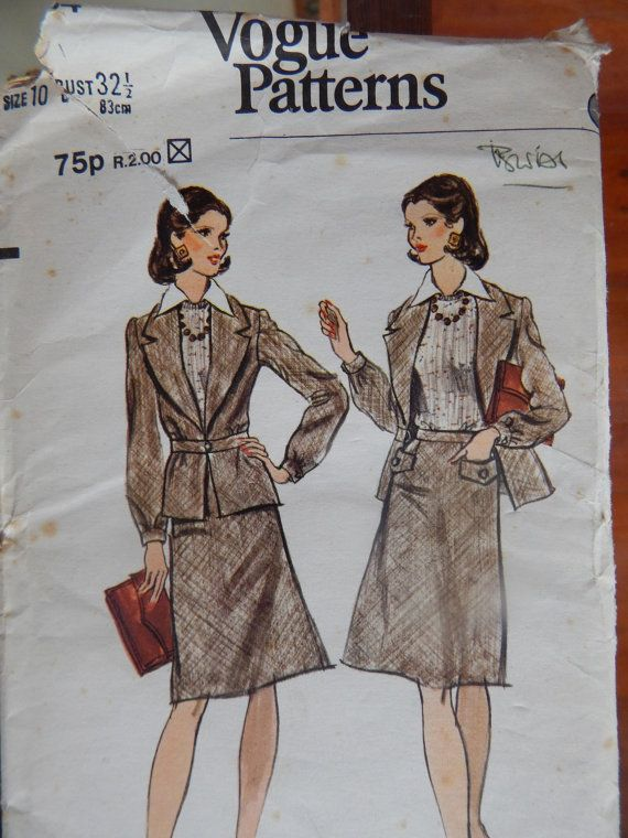 1970s Jacket and A-line skirt Vogue pattern 8664 Size: 10 Bust