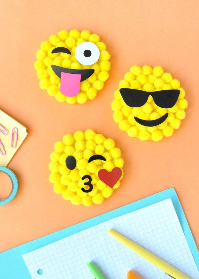 Pom-poms + emojis = a super fun craft kit!