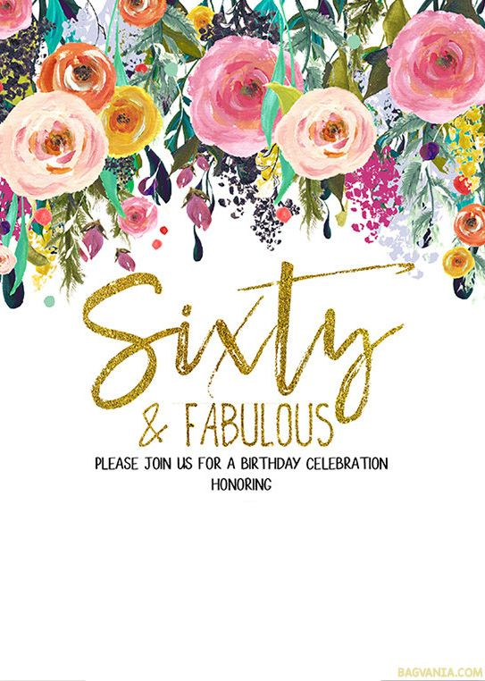 FREE Printable 60th Birthday Invitation Templates | Drevio Invitations Design