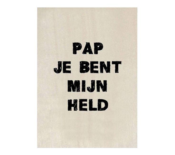 Houten kaart - Pap je bent mijn held. www.Millows.nl