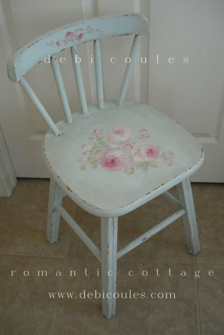 A lovely vintage hand painted roses chair. Now available at www.debicoules.com