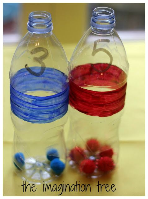 Coloured Number Bottles for Math Play