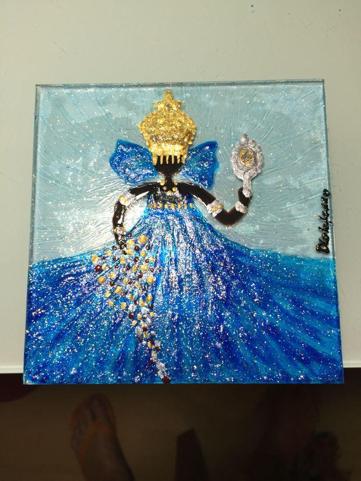 Iemanja!! Pintura com tinta vitral , em vidro de 10x10 cm sobre tela