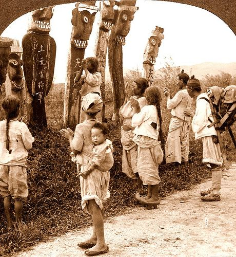 """""""Heathen, Idol-Worshipping, Blinded-by-the-Devil, Superstitious Koreans"""" according to the Christian Missionaries. Near SEOUL. Photo by UNKNOWN Photographer, ca.1899-1900."""