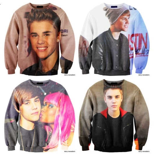 justin bieber sweatshirt!!...just as cool as the Josh Hamilton/Michael Young player shirts...you know which one I'm talking about..