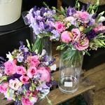 Summer Brides Bouquet Sweet Pea Lisianthus and Poeny Roses