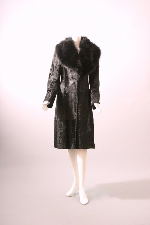 FENDI by Karl Lagerfeld, Black breitschwanz and fox fur coat, circa 2000