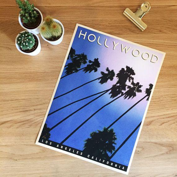 Hollywood Trees. Vintage Style, Retro, Mid Century Modern, Wall Art, Travel…
