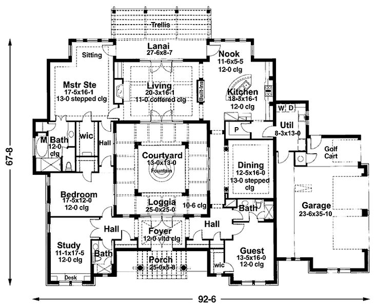 Mediterranean courtyard house plans grundplaner 1plan for Mediterranean home plans with courtyards