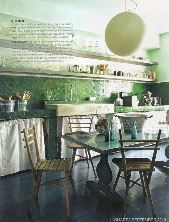 Paola Navone's kitchen - the tiles. Very Amelie and A little Princess