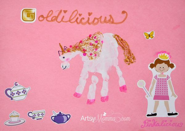 Do you have a child who loves the Pinkalicious book series? We made a handprint unicorn craft to go along with the books, Goldilicious & The Royal Tea Party