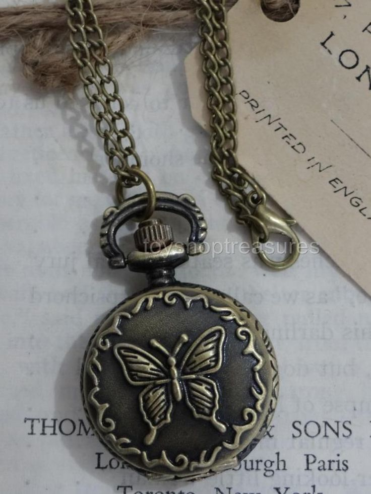 Vintage Bronze Butterfly Pendant Fob POCKET WATCH Necklace STEAMPUNK