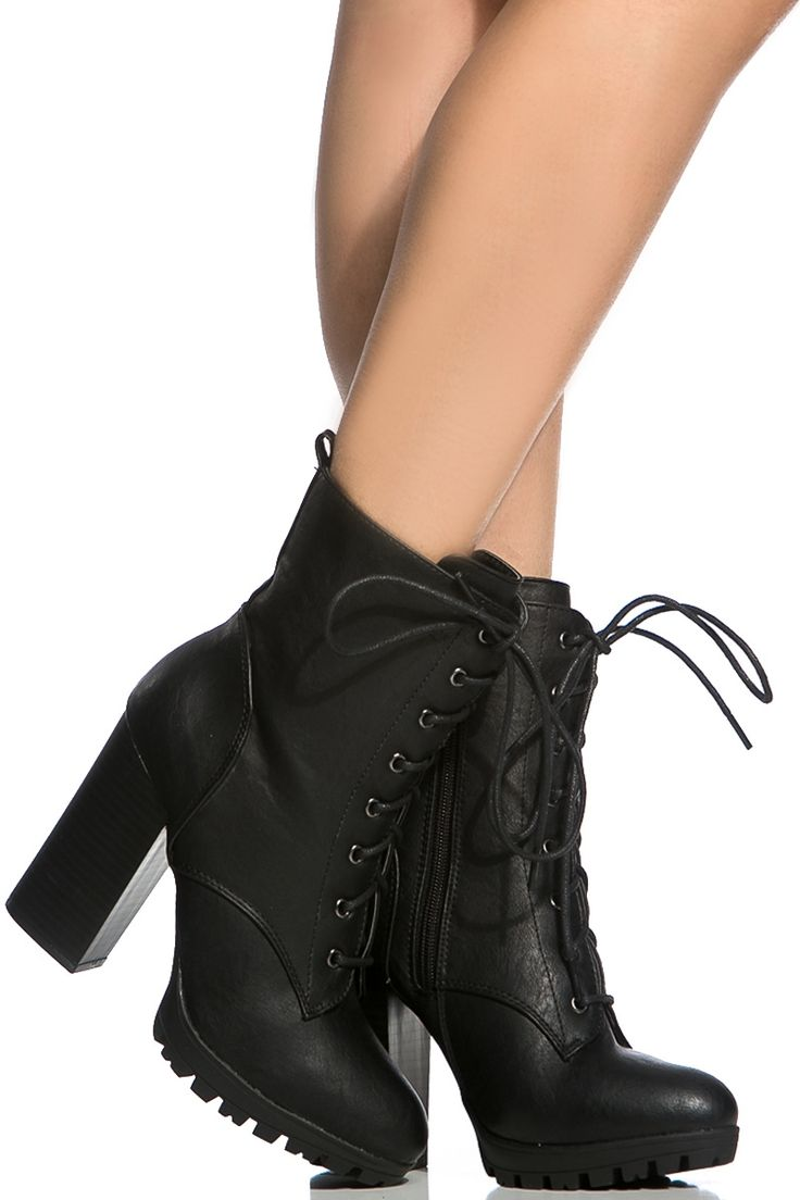 Black Faux Leather Chunky Lace Up Boots @ Cicihot. Booties spell style, so if you want to show what you're made of, pick up a pair. Have fun experimenting with all we have to offer!