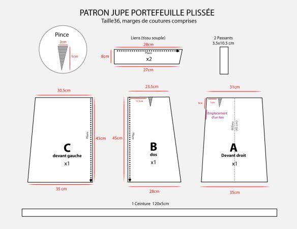 patron couture gratuit jupe portefeuille. Black Bedroom Furniture Sets. Home Design Ideas