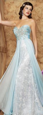 Ice Blue Chiffon  Lace Beaded Strapless Sweetheart Dress ~ could be my something blue and wedding dress