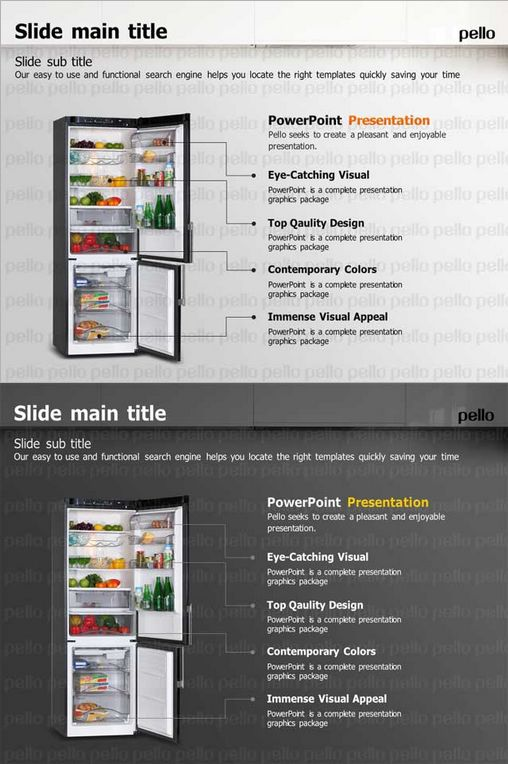Make your presentations more interesting using this Refrigerator-themed Full HD Slides! Easy editable and available in light and dark colors.