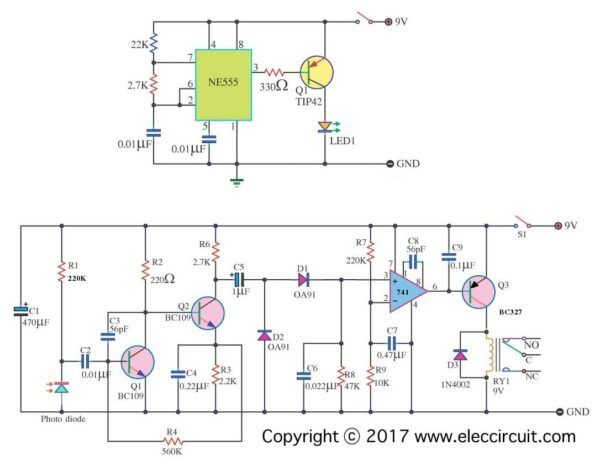 8 Simple Touch Switch Circuit Projects Eleccircuit Com Intruder Alarm Circuit Diagram Circuit