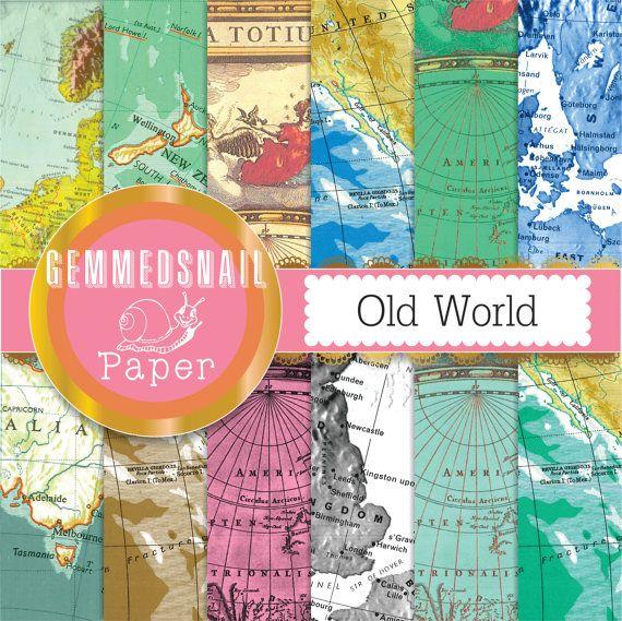 Map digital paper 'Old world' vintage maps, antique backgrounds, map scrapbook paper x 12