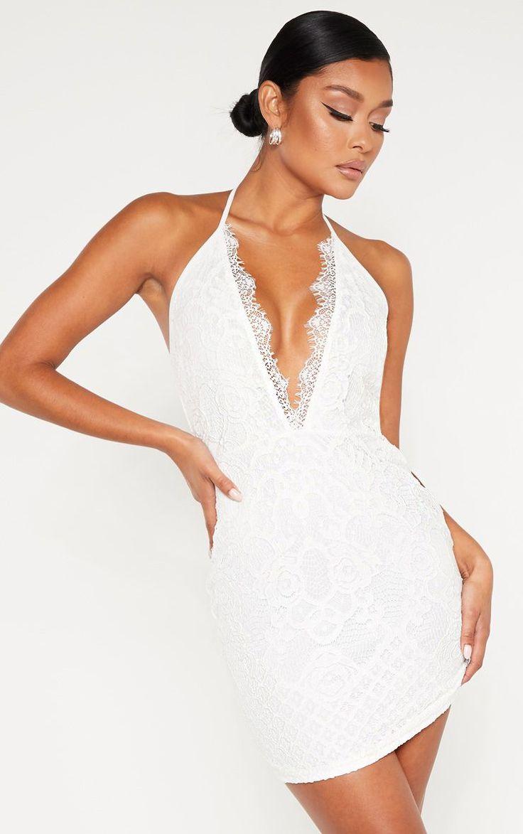White Lace Halterneck Bodycon Dress