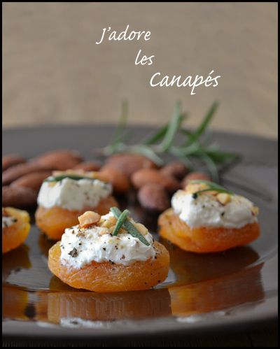 Apricot with goat cheese, black pepper, almonds and rosemary.