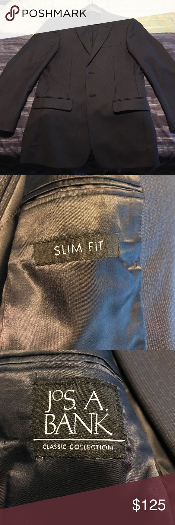 Jos A. Bank Slim Fit Suit 38R 33x30 Dry cleaned only. Lightly worn. Side Sean on pants popped. Easy fix. Jos. A. Bank Suits & Blazers Suits