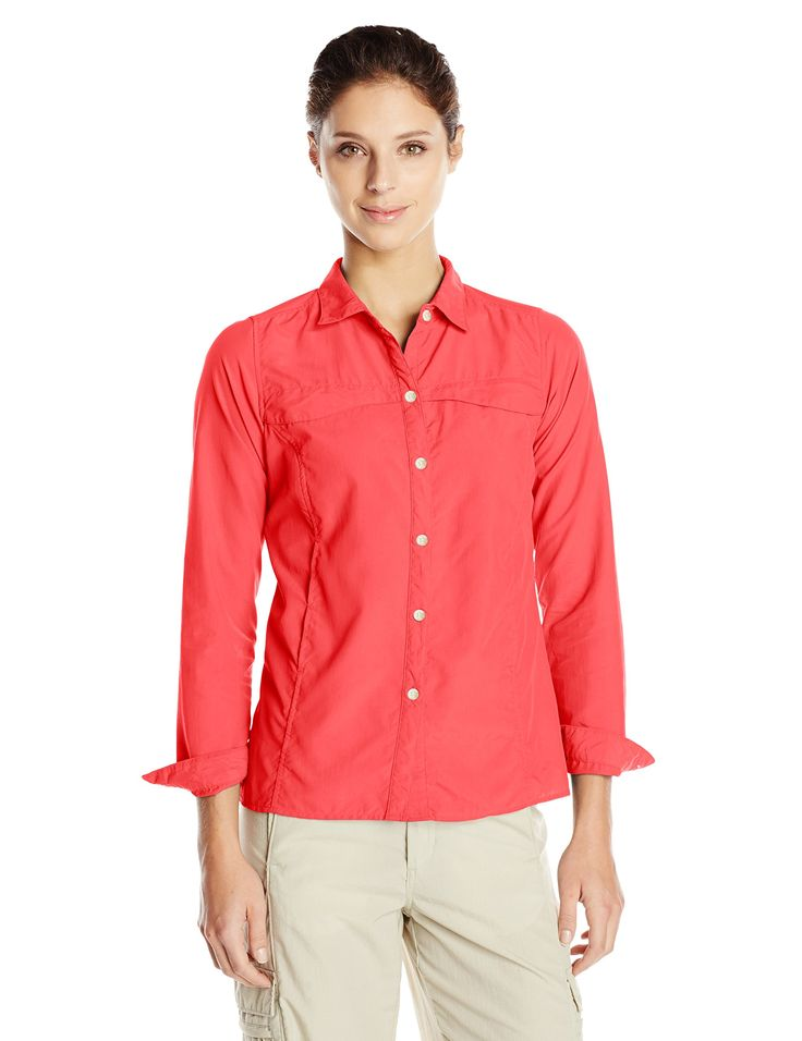 ExOfficio Women's BugsAway Breez'r, Grenadine, X-Small. Button-front, long-sleeve shirt featuring UPF 30 protection and security zip pocket at left front. Flow Thru Ventilation System for front to back and side venting. Insect Shield technology repels mosquitos, ticks, ants, flies, chiggers, and midges. Repellent lasts 70 washings.