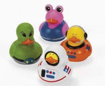 "12 Astronaut Space Alien Rubber Ducks [Toy] by OTC. $5.75. Receive 12 ducks total, 4 different styles. Each ducky measures approx. 2"" x 2"". They do not squeak but do have a hole in their beak for squirting water. They do not float upright. Great to hand out to your guests as party favors. Ages 3+."