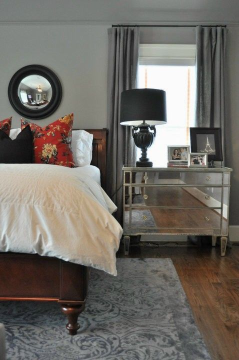 Miles Design Group- Master Bedroom,  Paint Color - SW Pavestone SW7642,  Rug - William Sonoma Home Outlet,  Mirror Chest - ZGallerie,  Convex Mirror - Restoration Hardware Outlet,  White Duvet - IKEA,  Pillows - Pottery Barn,  Draperies - Restoration Hardware,  Bed - Coaster Company